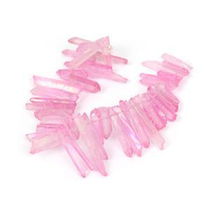 190cts Rainbow Coated Pink Quartz Top Drilled Points, Approx 4-6x15-30mm, 20cm strand