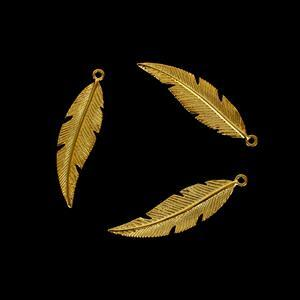 Gold Plated 925 Sterling Silver Fine Detail Feather Pendants, 26x7mm, 3pcs