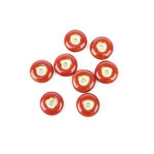 Red Ceramic Donut Beads, 21x6mm (8pk)