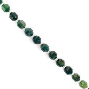 180cts Moss Agate Fancy Faceted Beads Approx 10x9mm, 38cm Strand