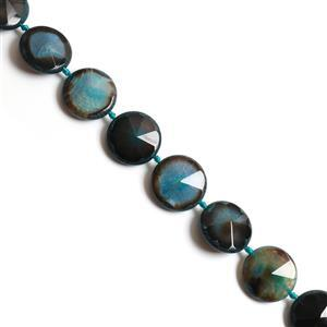 900Cts Dyed Black & Aqua Agate Coin Faceted, Appox 35mm, 38cm strand