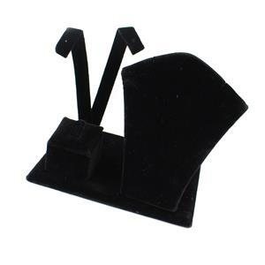 Black Velvet Flannette Necklace, Earring & Ring Stand Approx 12x9x11cm