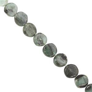 55cts Emerald Straight Drill Plain Coin Approx 6 to 7mm, 33cm Strand