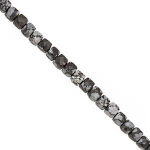 75cts Snowflake Obsidian Faceted Cube Approx 4.25 to 5mm, 38cm Strand