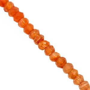 25cts Orange Carnelian Faceted Rondelle Approx 2x1 to 4x3mm, 31cm Strand