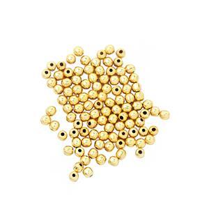 Gold Plated Base Metal Crimp Beads, 2mm (100pcs/pack)