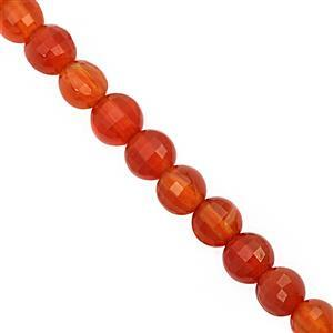 28cts Red Onyx Faceted Puffy Coin Approx 3.5 to 4mm, 30cm Strand