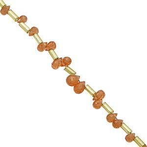 8cts Spessartite Garnet Top Side Drill Graduated Faceted Drop Approx 3.5x2.5 to 6x4.5mm, 10cm Strand with Spacers