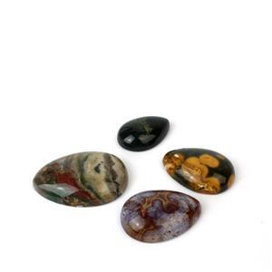 Min 150cts Ocean Jasper Pear Cabochons from 17x25~27x37mm, 4pcs set