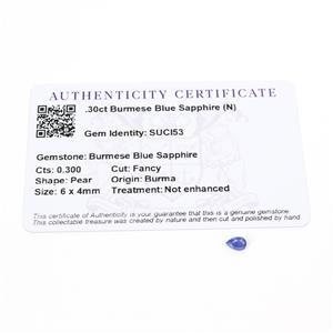 0.3cts Burmese Blue Sapphire 6x4mm Pear  (N)