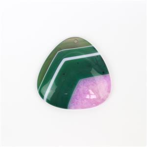 70cts Green and Fuchsia with Quartz Agate Pendant Triangle Approx 40mm,1pk