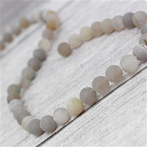 170cts Grey Frosted with Druzy hole Agate Plain Rounds Approx 8mm, 38cm Strand