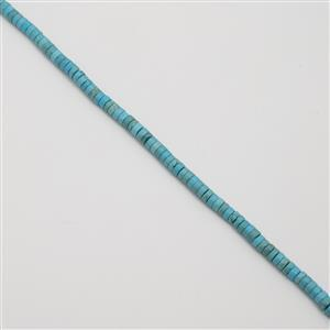 140cts Dyed Turquoise Blue Colour Magnesite, Approx 3x6mm, 38cm strand