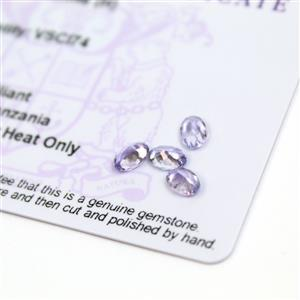 1.6cts  Tanzanite 6x4mm Oval Pack of 4 (H)