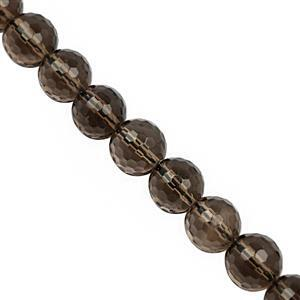 138cts Smokey Quartz Faceted Round Approx 10mm, 19cm Strand