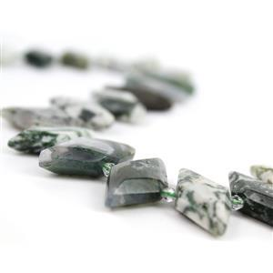 450cts Tree Agate Faceted Rhombus Approx 15x30mm, 38cm