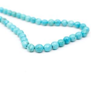 80cts Dyed Blue Magnesite Faceted Rounds Approx 6mm, 38cm Strand