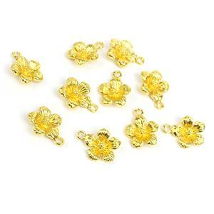Gold Colour Plated Brass Hibiscus Charms Approx 15x12mm, 10pc/pk