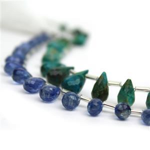 Collectors Drops! 33cts Chrysocolla Faceted Drops & 35cts Blue Kyanite Faceted Drops