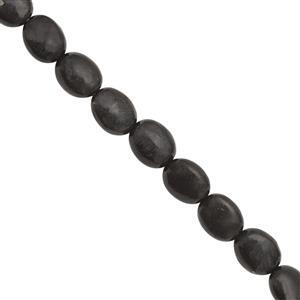 100cts Russian Shungite Smooth Oval Approx 8x10mm, 40cm Strand