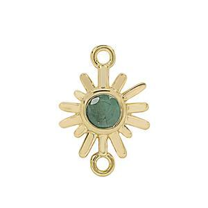Gold Plated 925 Sterling Silver Sunray Connector with 0.6cts Sakota Emerald Approx. 20x14mm (1pc)