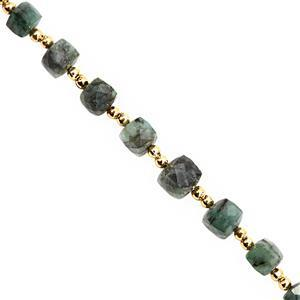 35cts Emerald Graduated Faceted Cube Approx 5.50 to 9mm, 15cm Strand with Spacers