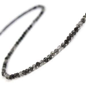 25cts Black Rutilated Quartz Faceted Rounds Approx 4mm 38cm strand