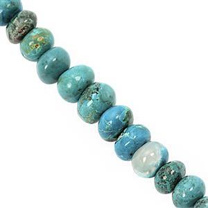 36cts Chrysocolla Graduated Plain Rondelle Approx 5.5x2.5 to 9x6mm, 10cm Strand