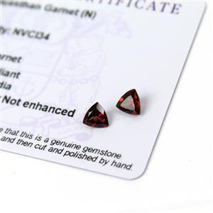 1.4cts Rajasthan Garnet 6x6mm Triangle Pack of 2 (N)