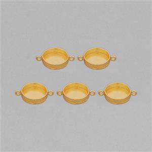 Gold Plated Copper Textured Round Bezel Connector ID - 20mm (MSAZ64)