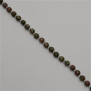 130cts Unakite Faceted Satellite Beads Approx 8x7mm, 38cm
