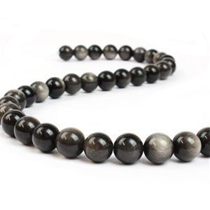 Silver Obsidian Plain Round 10mm 38cm length