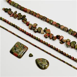 1300cts Unakite Assorted Shapes & Sizes, 38cm Loose Strands & Cabs (Set of 6)