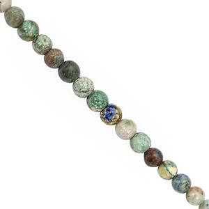 38cts Chrysocolla Smooth Round Approx 3.5 to 4.5mm, 30cm Strand
