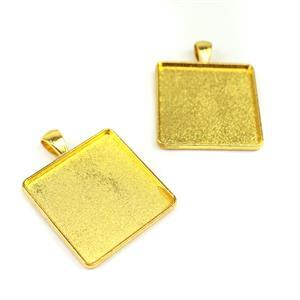 Gold Colour Bezel Pendant Rectangle Approx 33x42mm (Set of 2)