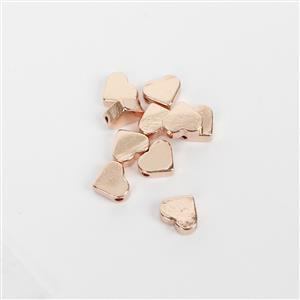 Rose Gold Plated Base Metal Heart Spacer Beads, Approx. 8mm (10pk)