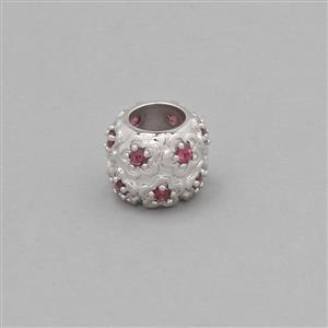 925 Sterling Silver Flower Charm Bead Approx 10mm Inc. 0.58cts Rhodolite Garnet Brilliant Round Approx 2mm