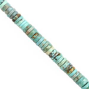42cts Turquoise Smooth Heishi Approx 5.5x1.5 to 6x2mm, 15cm Strand