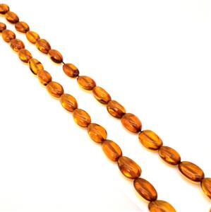 Baltic Cognac Amber Olive Beads Approx 8x10 - 10x15mm, 40cm Strand