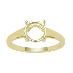9ct Gold Round Ring Mount (To fit 8x8mm gemstone)