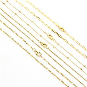 Gold Plated 925 Sterling Silver 18 Inch Necklace Bundle (4pcs - 25c Cable Chain With Beads, 1mm Round Box Chain, Figaro Chain, 70c Long Link Cable Cha