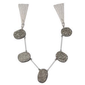 Silver Druzy Quartz Gemstone Strand