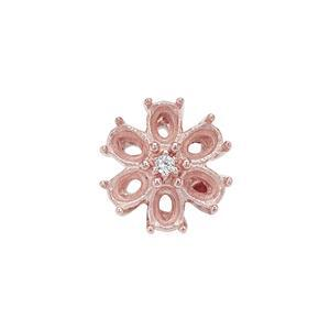 Rose Gold Plated 925 Sterling Silver Flower Oval Pendant Mount (To fit 4x3mm gemstones) Inc. 0.02cts White Zircon Brilliant Cut Round 1.50mm - 1pcs
