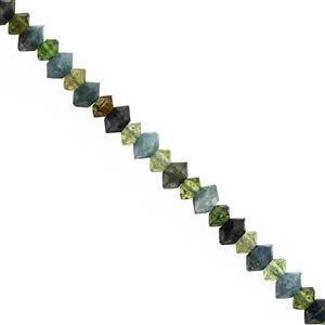 14cts Green Blue Tourmaline Faceted Saucer Approx 2.5x1.5 to 3.5x2mm, 27cm Strand
