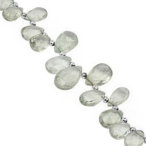 120cts Green Amethyst Top Side Drill Graduated Faceted Pear Approx 9x6 to 17x10mm, 25cm Strand with Spacers