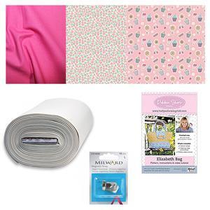 Liberty Tea For Two in Pink Elizabeth Bag Kit: Pattern, Fabric (1.5m), Bosal & Snap