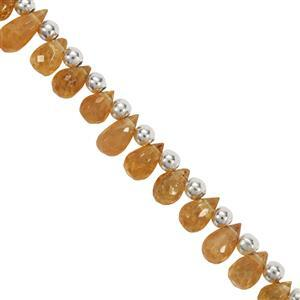 22cts Spessartite Faceted Drop Approx 4x3MM to 6x3.5MM 19cm Strand With Spacers
