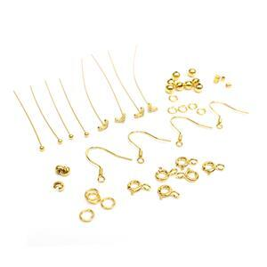 Gold Plated 925 Sterling Silver Findings Pack With Cubic Zirconia Heart Headpins 40pc
