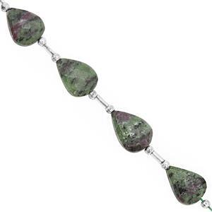 42cts Ruby Zoisite Straight Drill Faceted Pear Approx 13x19 to 17x11.5mm, 14cm Strand with Spacers