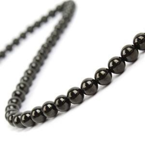 60cts Jet Plain Rounds Approx 6mm, 38cm strand